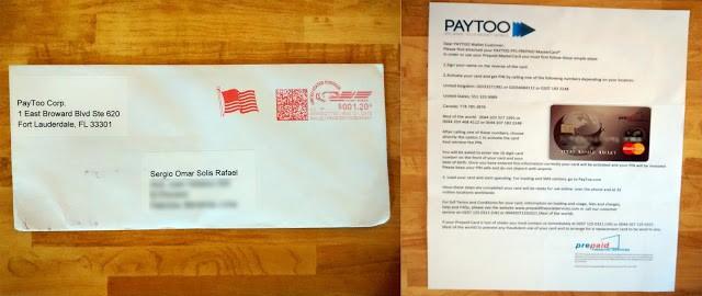tarjeta paytoo para retirar dinero paypal