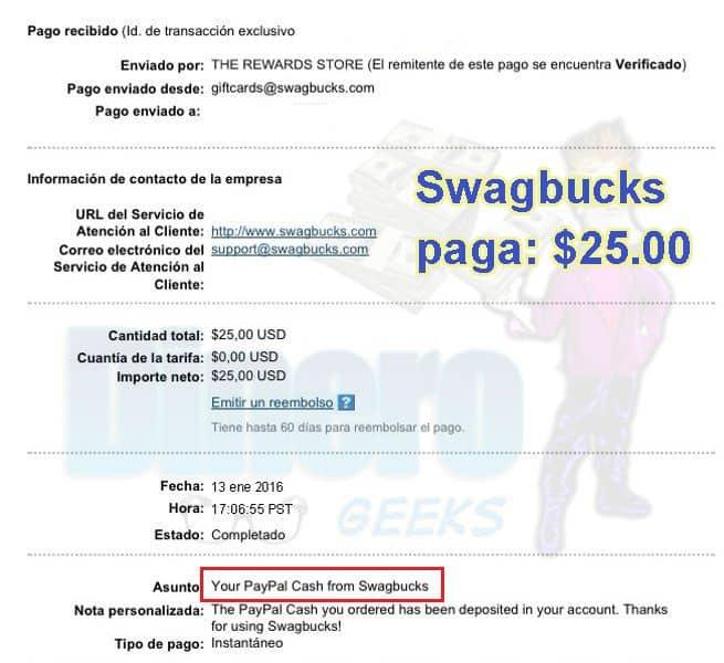 Comprobante de pago Swagbucks