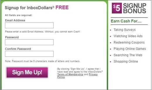 Registro gratuito en InboxDollars