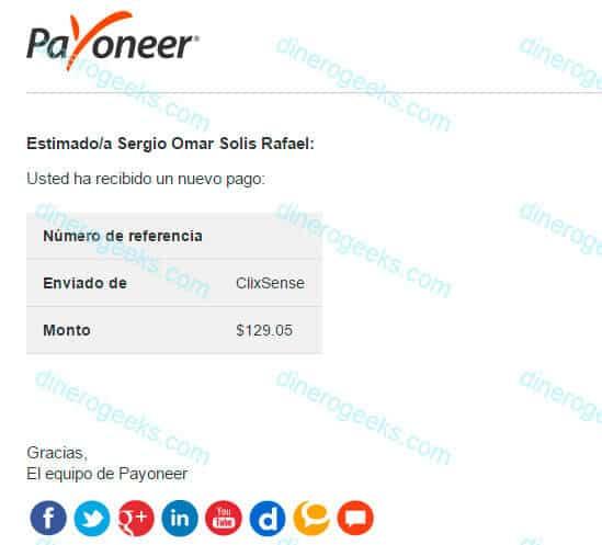 Prueba de pago de ClixSense vía Payoneer