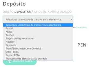 Depósitar dinero en AirTM