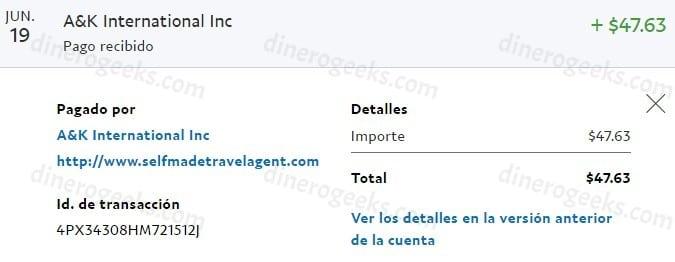 Comprobante de pago de $47 recibidos por PayPal