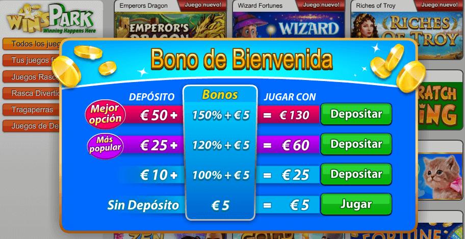 Bonos de bienvenida WinsPark