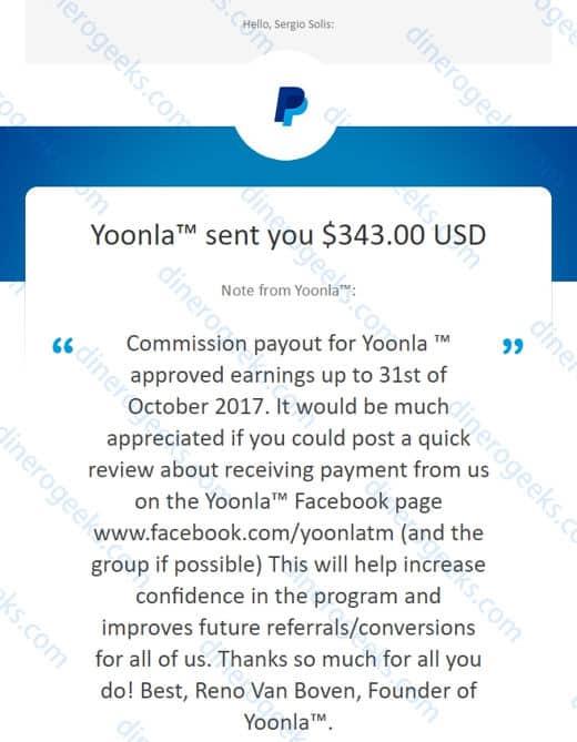 Yoonla paga comprobante paypal