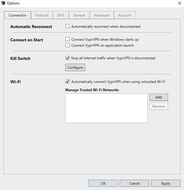 Configuración del cliente VyprVPN