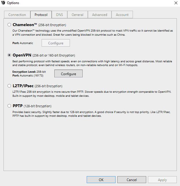 Protocolos disponibles en VyprVPN