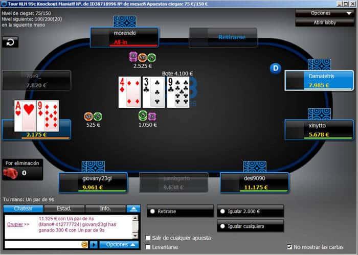 Mesa de juego 888 Poker