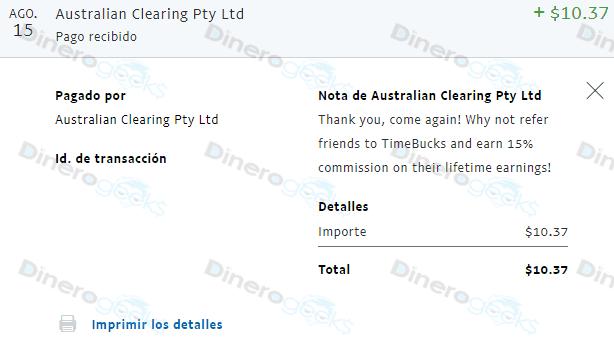 TimeBucks paga PayPal comprobante