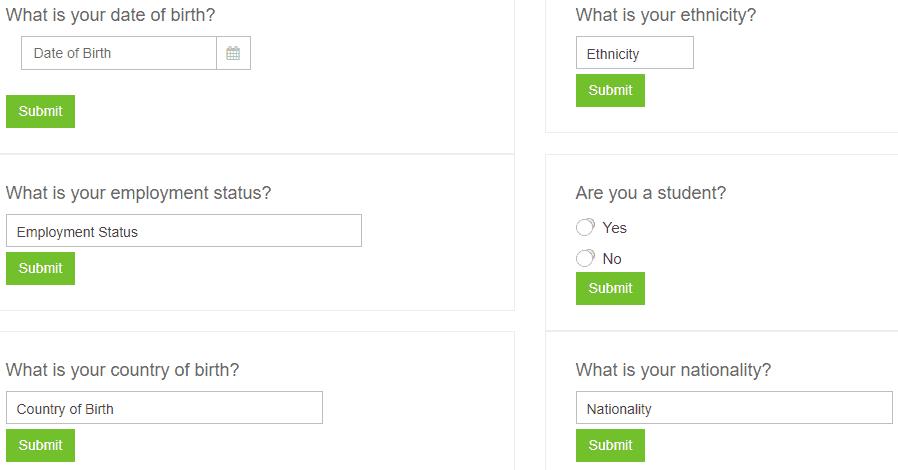 Preguntas de perfil Prolific