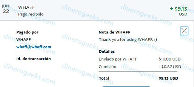Whaff Rewards comprobante de pago Junio 2018