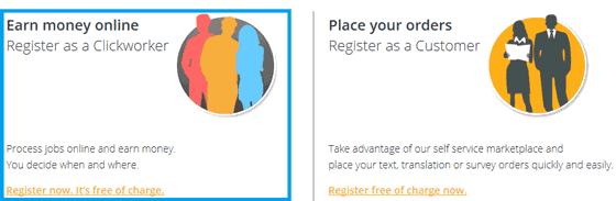 Proceso de registro en ClickWorker