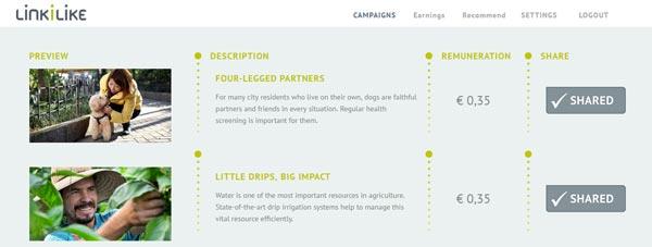 Campañas en LinkiLike