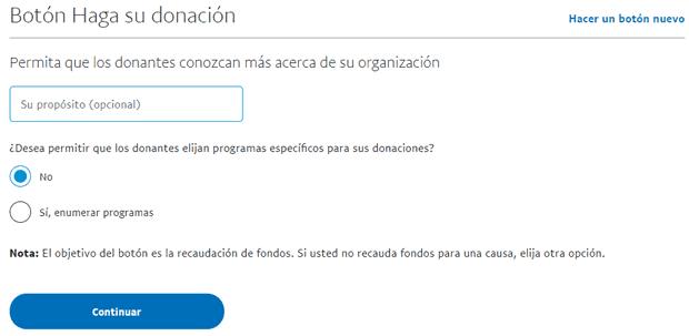 Propósito de una donación PayPal