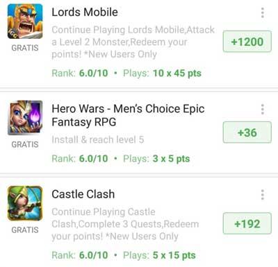 Ofertas remuneradas de juegos