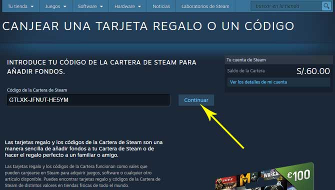 Canjear código Steam