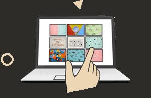 Laptop visitando sitio web